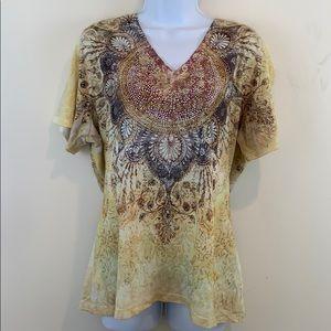 Kiara Short Sleeve V-Neck Embezzled Shirt  Sz 2XL